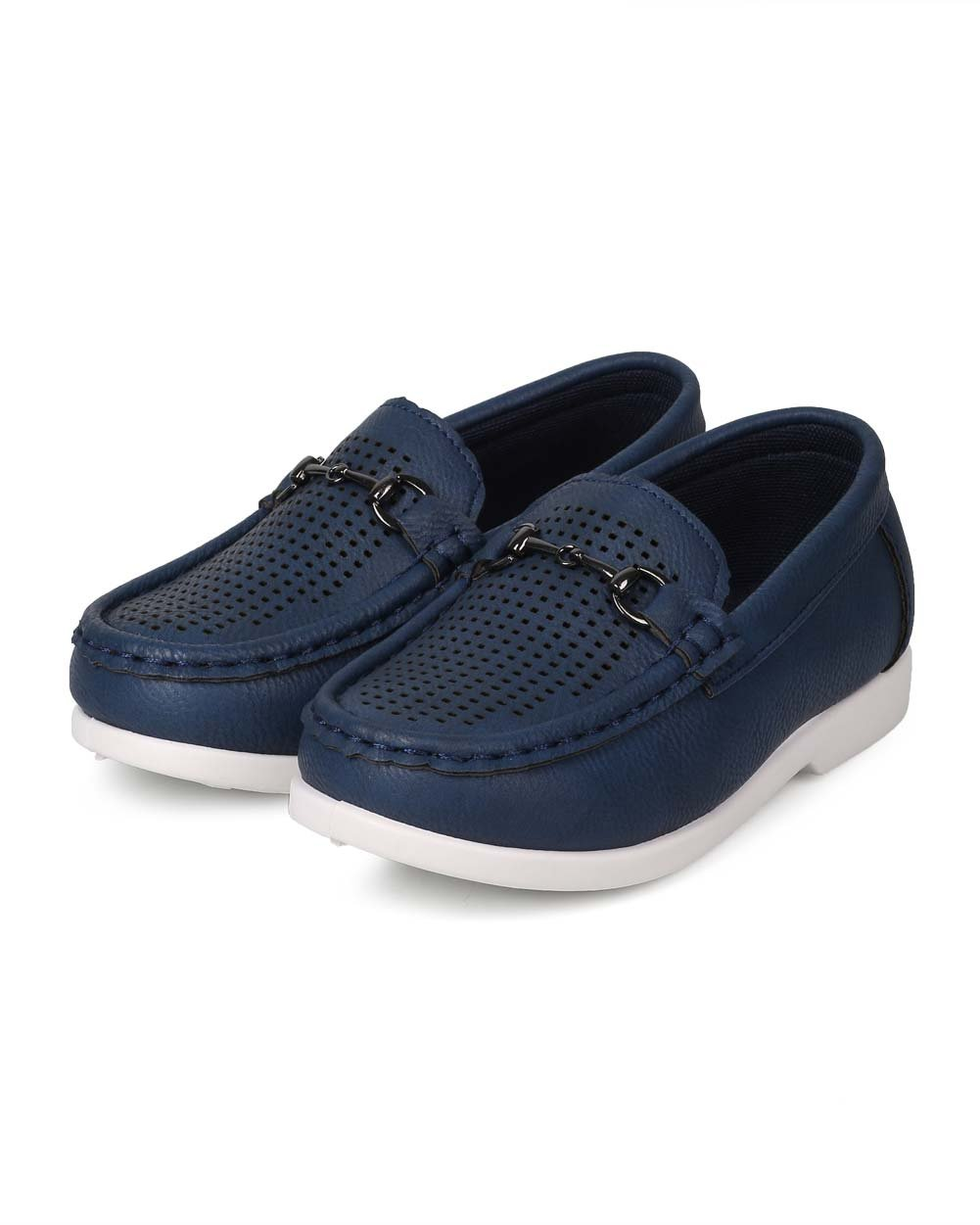 JELLYBEANS Leatherette Round Toe Perforated Chain Slip On Loafer (Toddler) EJ47 - Navy (Size: Toddler 5) by JELLYBEANS (Image #5)