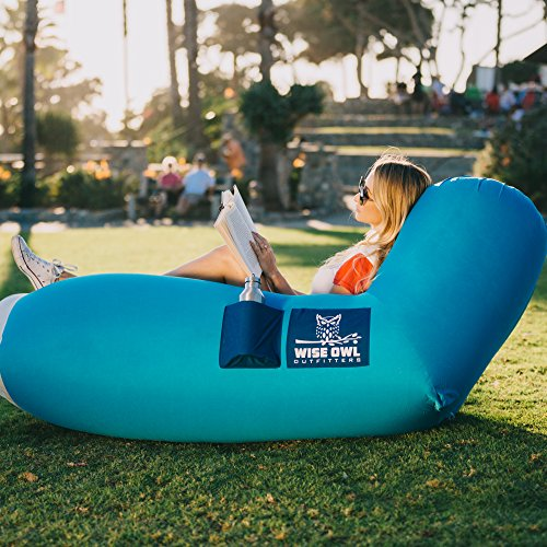 Wise Owl Outfitters Inflatable Lounger Air Hammock Sofa by Large Waterproof Pool or River Float – Indoor or Outdoor Adjustable Hangout Chair Seat for Camping – Aqua & Marine Blue