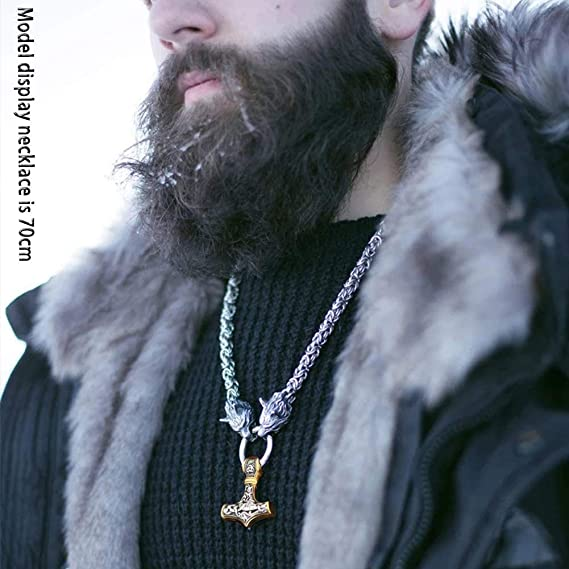 Jovivi Vikings Llavero de acero inoxidable con dise/ño de martillo vikingo