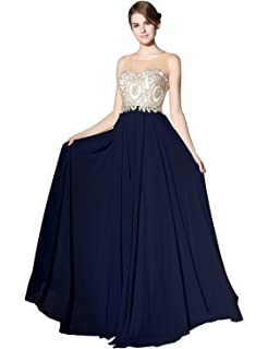Sarahbridal Long Evening Dresses Chiffon Prom Party Dresses Elegant Ball Gowns with Applique for Women SLX356