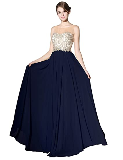 833910aa3a2 Sarahbridal Long Evening Dresses Chiffon Prom Party Dresses Elegant Ball  Gowns with Applique for Women SLX356  Amazon.co.uk  Clothing