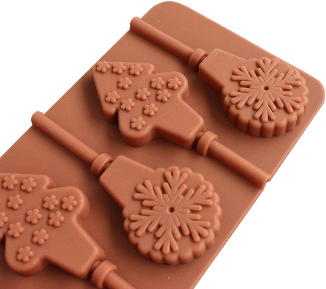 Chocolate Mode,Lollypop Cake Mold Chocolate Mould Silicone Lollipop Mold Cake Tools Cooking ToolChristmas Tree Lollipop Chocolate Mold QFT45