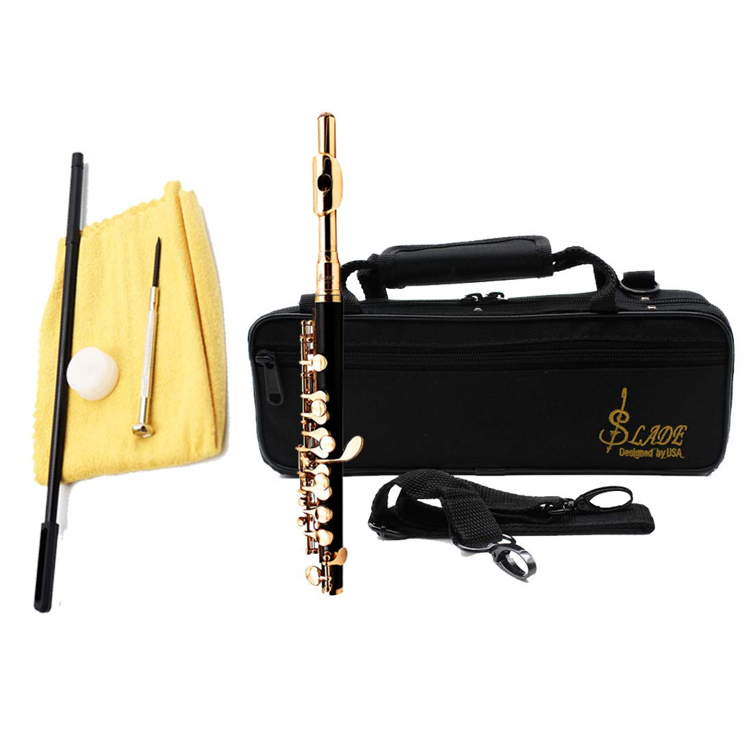 Black Resin Piccolo Key of C Golden Plated Piccolo with Screwdriver,Cleaning Cloth,Rod, Hard case,Joint grease