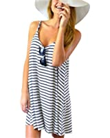 TIFENNY Women Sexy Sleeveless Striped Loose Mini Dress Beach Party