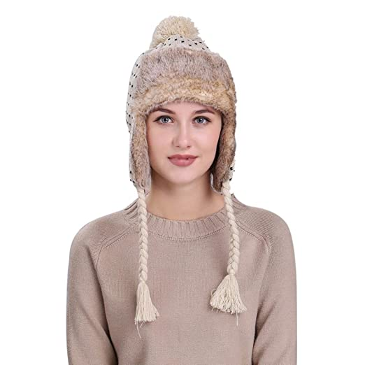 ba5c56ed7a0 RNTOP Warm Women Winter Hat with Ear Flaps Snow Ski Chunky Knit Wool Beanie  Cap Hat