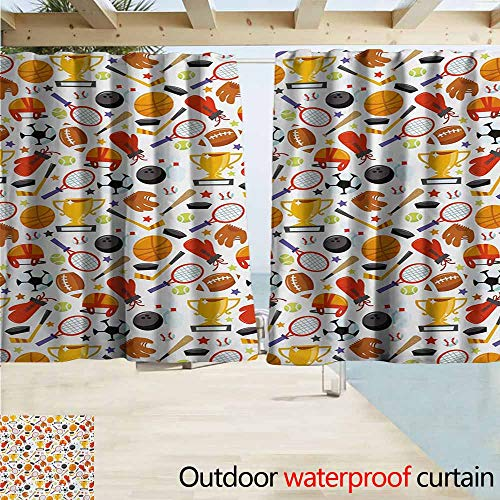 Lcxzjgk Sport Pergola Curtain Abstract Cartoon Style Sporting Goods Tennis Racket Ball Bowling Star Filled Pattern Perfect for Your Patio, Porch, Gazebo, or Pergola W55 xL63 - Star Mini Bowling