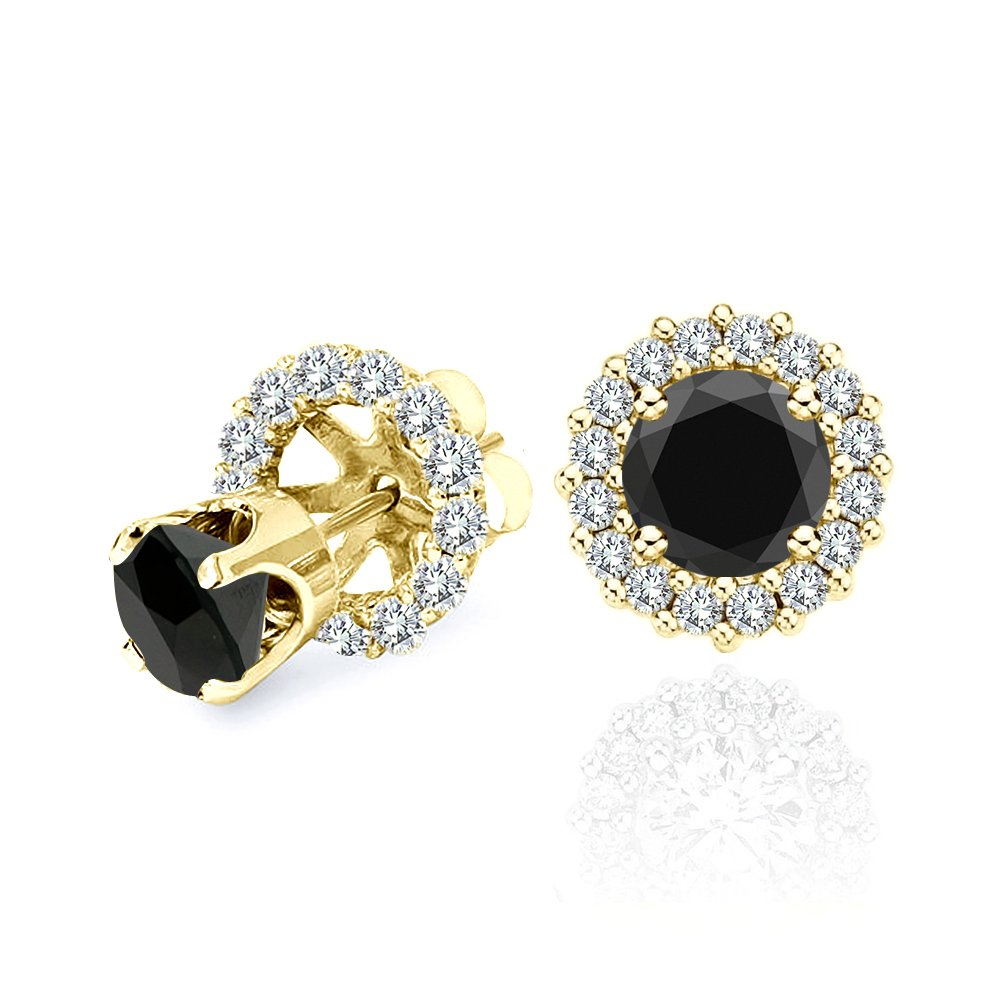 4.00 Carat Black Diamond Flower Solitaire Stud Women Pair Earrings With Halo Jackets 14K Yellow Gold