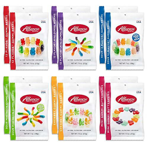 Albanese Gummi 12 Flavor Variety Pack (12 Bags) 12-Flavor Gummi Bears, Mini Gummi Butterflies, 12-Flavor Mini Gummi Worms, Sherbet Gummi Bears, Sour Mini Neon Gummi Worms, Sour 12-Flavor Gummi Bears]()