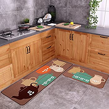Carvapet 2 Piece Non-Slip Kitchen Mat Rubber Backing Doormat Runner Rug Set, Pots (19