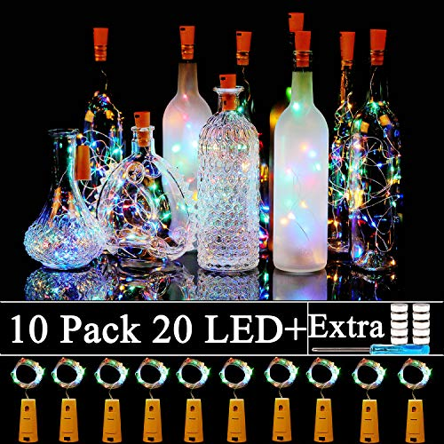 Sunlane 10 Pack Wine Bottles Cork Lights-20 Led Battery Powered Cork Shape Copper Wire Fairy String Lights for Garden, Patio Pathway Décor, Outdoor, DIY, Party, Wedding (10, Colorful-Steady)