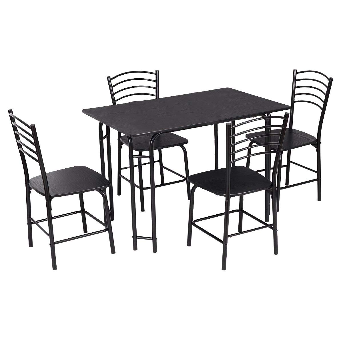 Giantex 5 PCS Dining Table Set 4 Person, Modern Kitchen Table and 4 Chairs, Wooden Top and Metal Legs, Home Dining Room Breakfast Furniture Rectangular Table, Black by Giantex