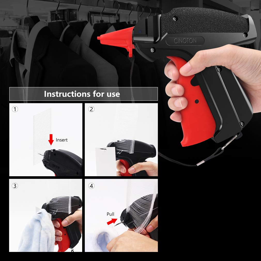 CINOTON Clothes Tagging Gun, Price Tag Gun with 1500 pcs 2'' Standard Fasteners, 6 Needles,10 pcs Labels, Tag Gun for Clothing Fit Yard Sale/Flea Market and Decorate by CINOTON (Image #4)