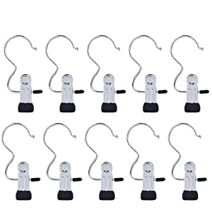 Yookat 12 PCS Portable Laundry Hook Boot Clips Hanging Clothes Pins Hanger Heavy Duty Stainless steel Home Travel Clothing Boot Hanger Hold Clips Multi-functional Organizer Pants Shoes Towel Clip