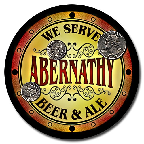 Abernathy Family Name Beer and Ale Rubber Drink Coasters - Set of 4