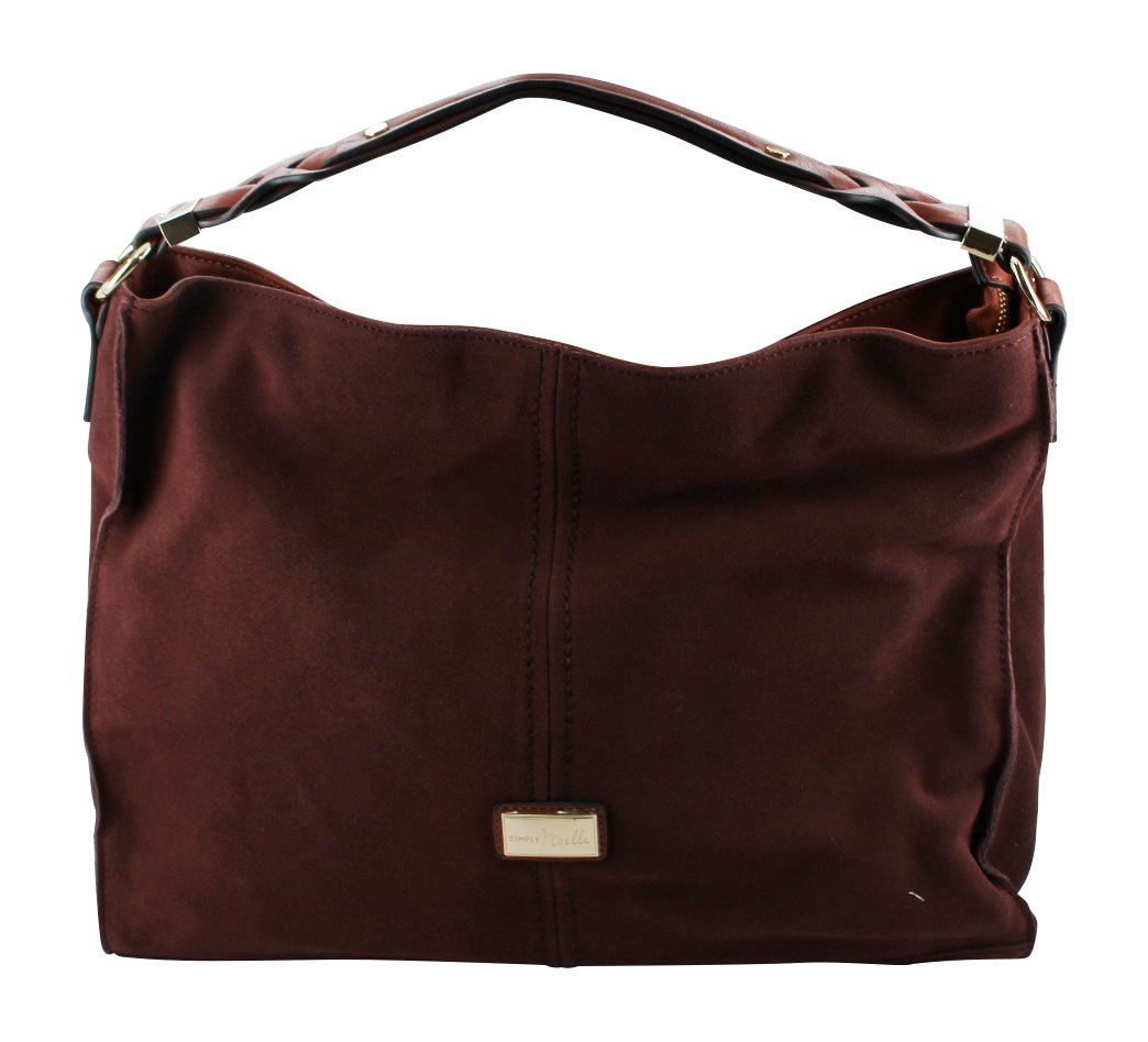 Simply Noelle Vegan Suede Biltmore Hobo Handbag in Chocolate Raisin