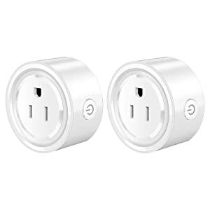 2 Pack Homeazi Smart Plug,WiFi Mini Plug,Compatible with Alexa,Google Home Assistant,Remote Control,Timer Function,2.4GHz WiFi Network