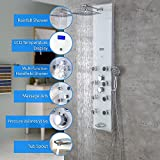 Decor Star 027-GS-WHT-2 51'' Aluminum Safety White Tempered Glass Rainfall Shower Panel Rain Massage System Faucet with Jets & Hand Shower