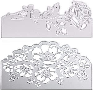 2 Pcs Metal Rose Shape Lace Die Cuts Embossing Stencils Mould for Card Scrapbooking and DIY Making Supplies