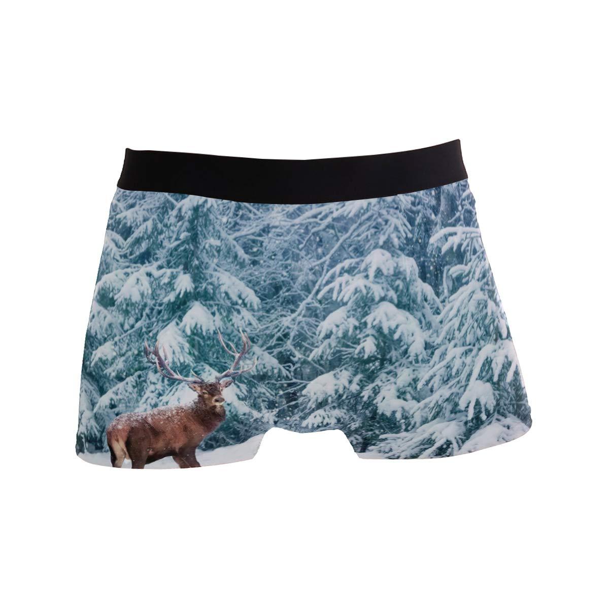 CATSDER Beautiful Deer Winter Snowy Forest Boxer Briefs Mens Underwear Pack Seamless Comfort Soft