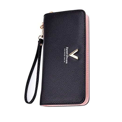 788a8a099133 Angel3292 Women Luxury Long Clutch Faux Leather Solid Color Wallet Coin Purse  Card Holder (Black