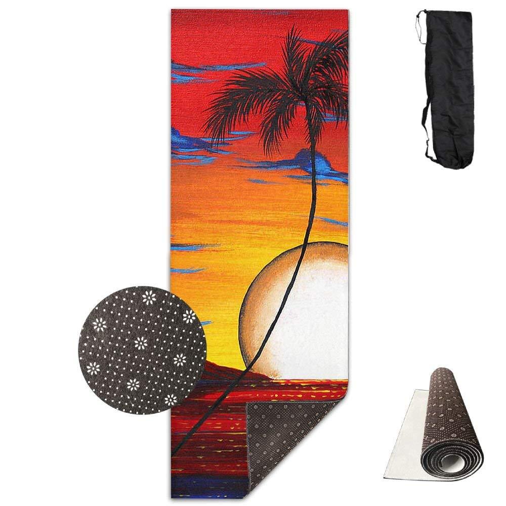 Abstract Palm Tree Tropical Coastal Deluxe,Yoga Mat Aerobic Exercise Pilates Anti-Slip Gymnastics Mats