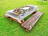 Ambesonne Letter Q Outdoor Tablecloth, Typographic Letter Font Design with Various Gaming Balls Athletic Kids Teamplay, Decorative Washable Picnic Table Cloth, 58 X 120 inches, Multicolor
