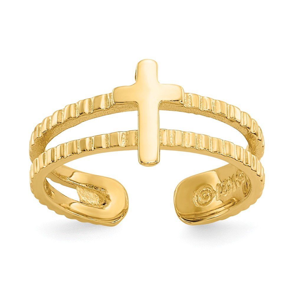 14K Yellow Gold Cross Toe Ring Solid 4 mm Toe Rings Jewelry