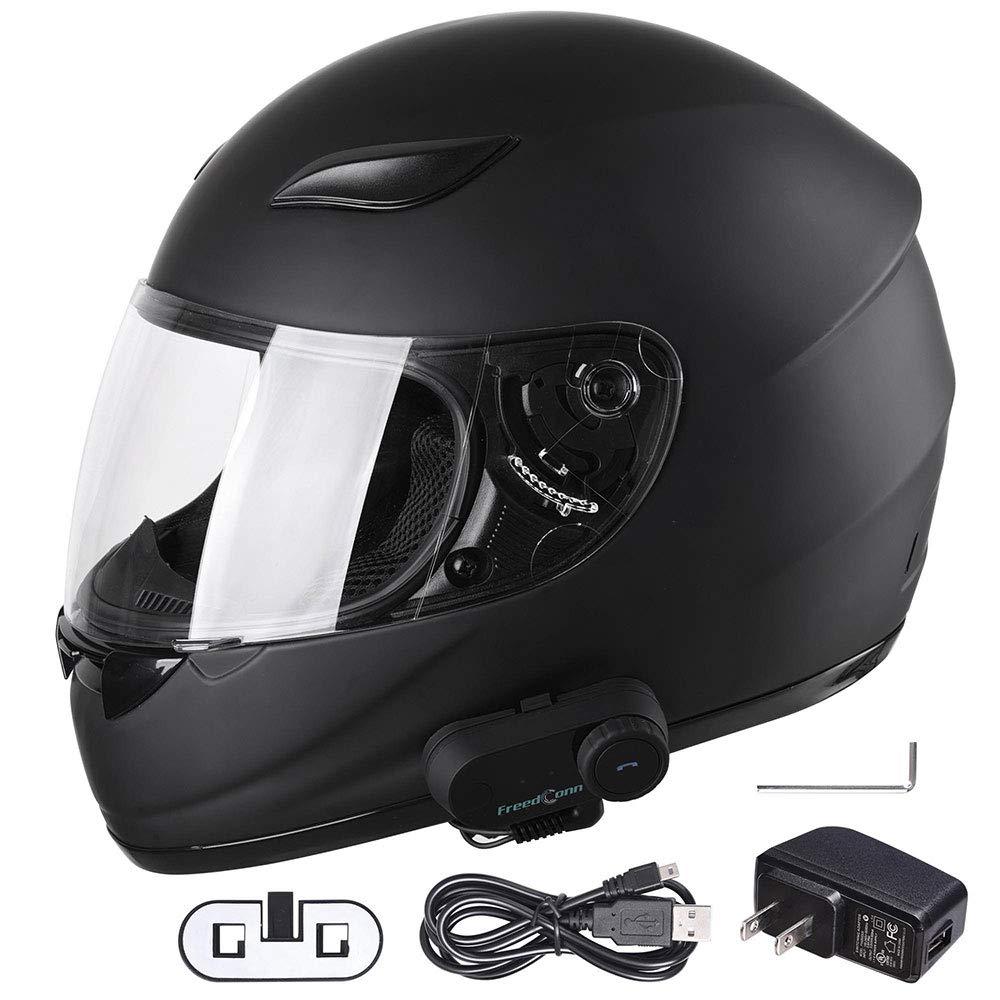 AHR Bluetooth Motorcycle Full Face Helmet Motorbike Modular Helmet with Wireless Headset Intercom MP3 FM DOT