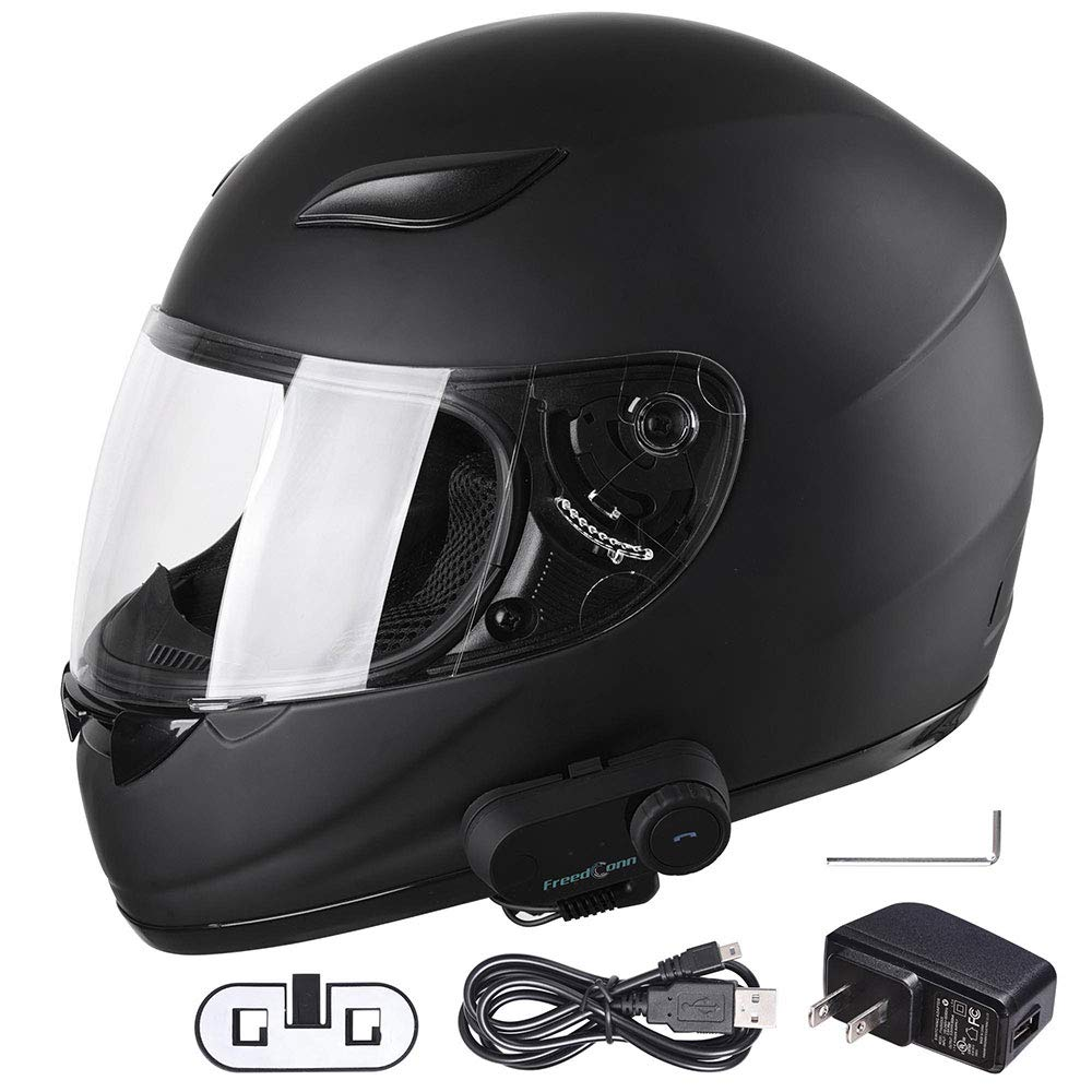 Yescom Bluetooth Motorcycle Full Face Helmet Modular Flip Up Helmet with Wireless Headset Intercom MP3 FM DOT