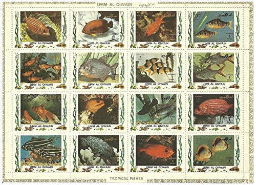 Tropical fish stamps in sheet of 16 issued in 1972 Umm Al Qiwain / Mint and unmounted