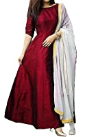 Royal Export Women's Taffeta Silk Maroon Dress