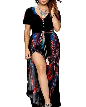 9e249f99269 Roiii Women Vintage Phoenix Print Split Summer Beach Short Sleeve V Neck Long  Maxi Dress Size