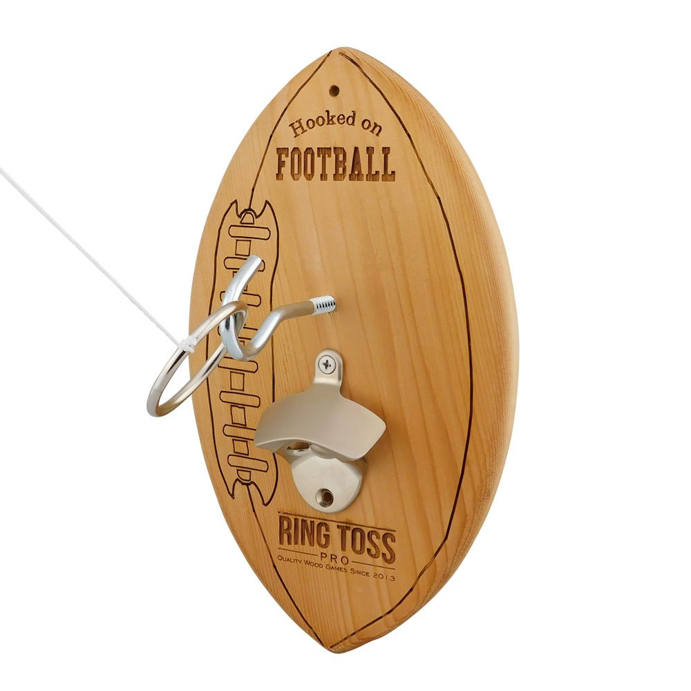 Football Hook & Ring Toss Game + Beer Bottle Opener by Ring Toss Pro