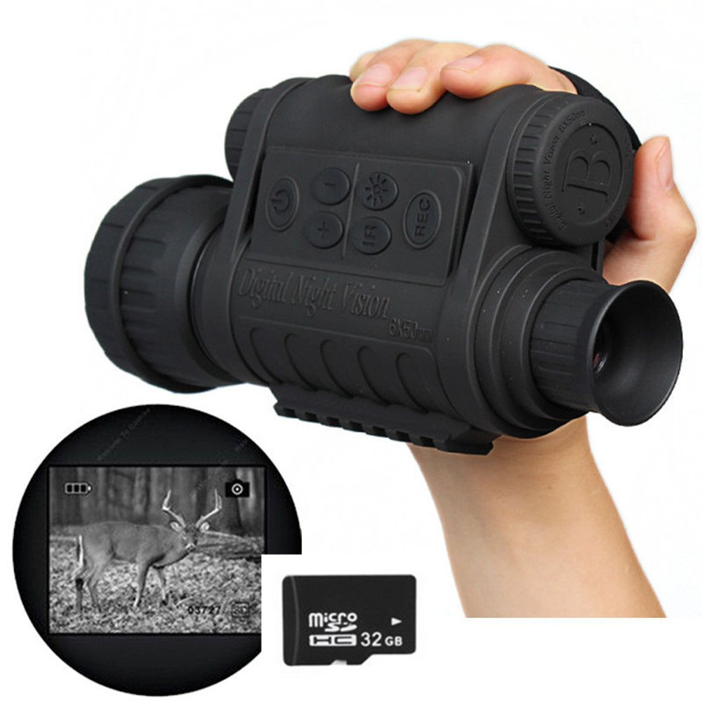 Boblov WG-50 6x50 Alcance Monocular de Visión Nocturna HD 720P 5MP (Con la tarjeta de TF32GB)