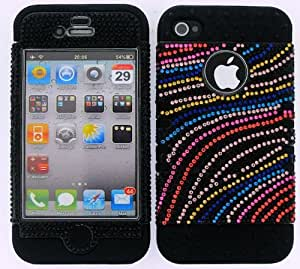 BUMPER CASE FOR APPLE IPHONE 4G 4 G SOFT BLACK SKIN HARD BLING COLORFUL WAVES COVER by runtopwell