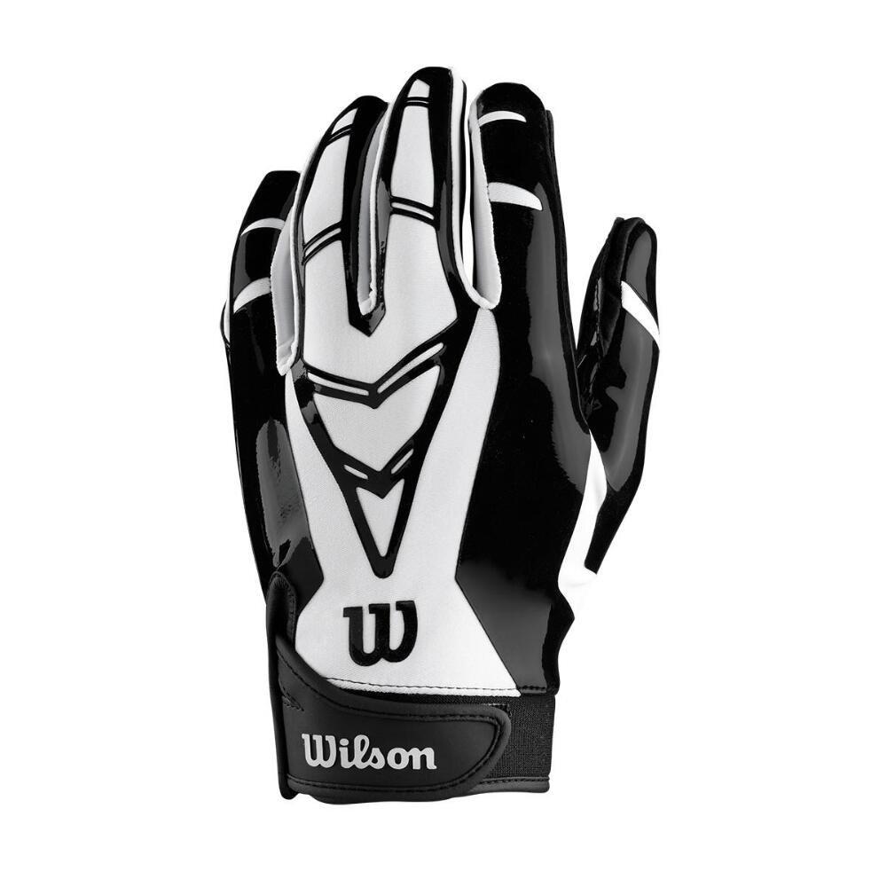 Wilson Adult MVP Receiver's Football Gloves Adult Large, Black & White