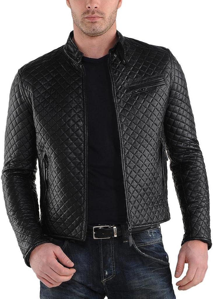 Negro K304 Trendtales Chaqueta de Cuero para Hombre Piel de Cordero