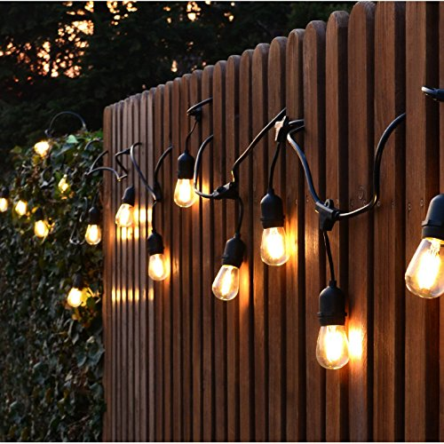 Hyperikon LED Commercial String Lights, 48ft Outdoor String Light with 15 Dropped Sockets, 2W ...