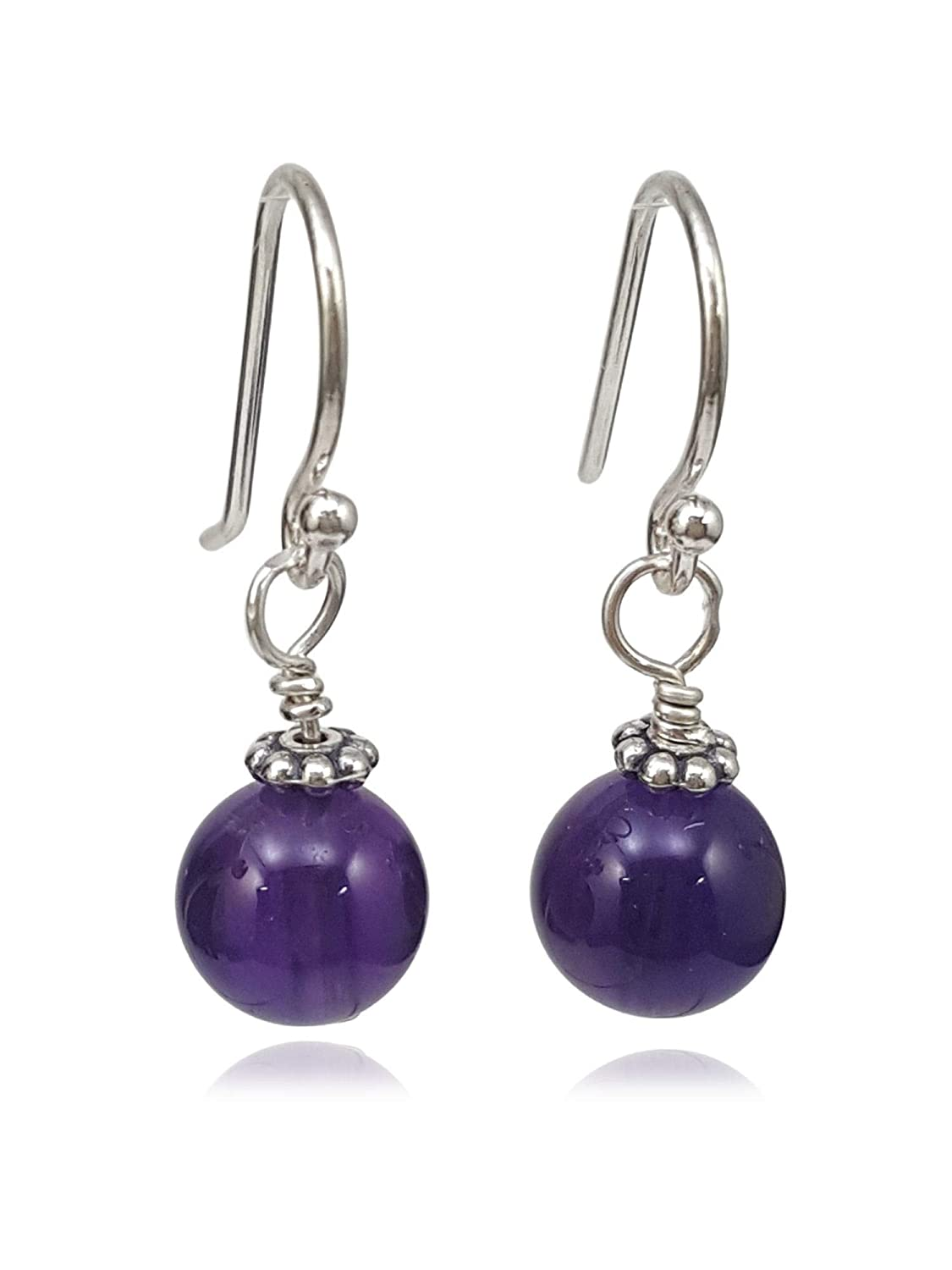 Amethyst Earrings Sterling Silver wire wrapped natural purple gemstones long dangle drops boho statement February birthstone gift her 6322