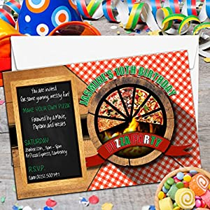 10 personalised girls boys pizza birthday party invitations n2 pizza party - Pizza Party Invitation
