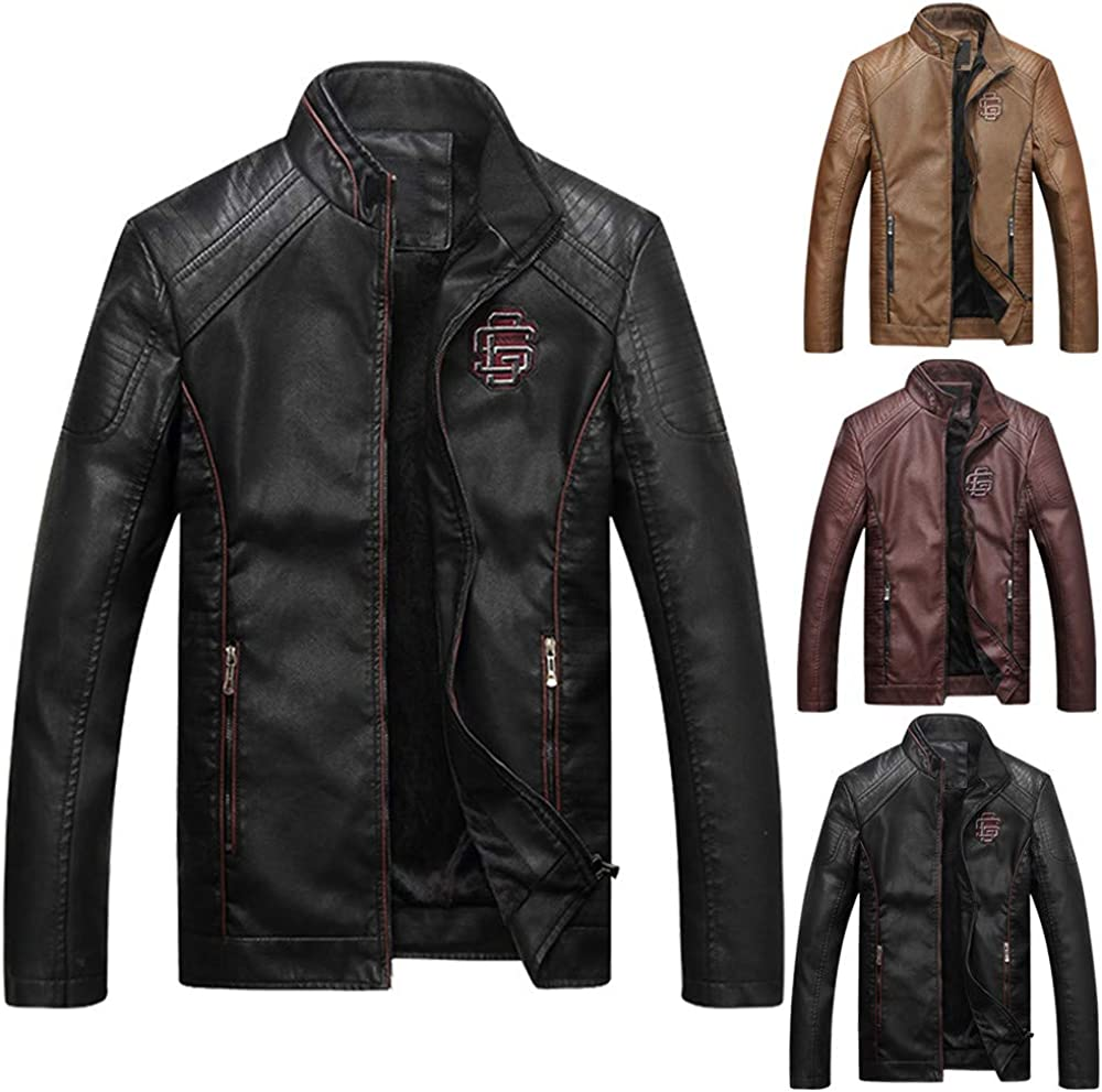 ThePass Mens Warm Jackets Leather Stand Collar Button Thermal Plus Velvet Coats