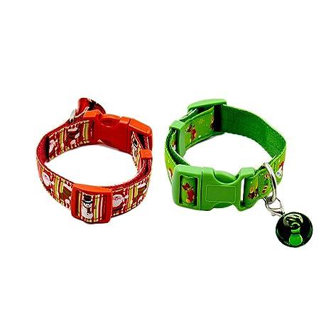 UKCOCO 2 Piezas Collares de Navidad para Perros y Gatos, Collar de Nylon con Campanas