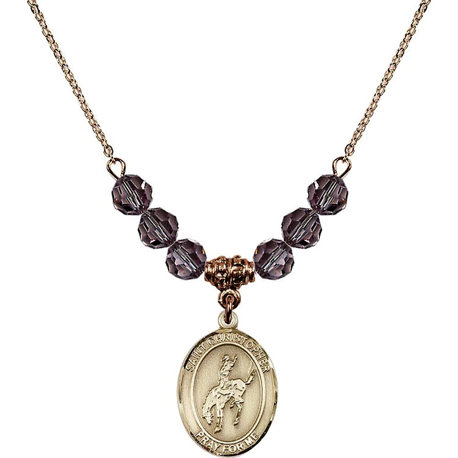 18-Inch Hamilton Gold Plated Necklace w/ 6mm Light Purple February Birth Month Stone Beads & Saint Christopher / Rodeo Charm