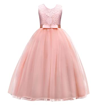 Amazon.com: Jurebecia Girls Prom Ball Gown Kids Lace Tulle Wedding ...