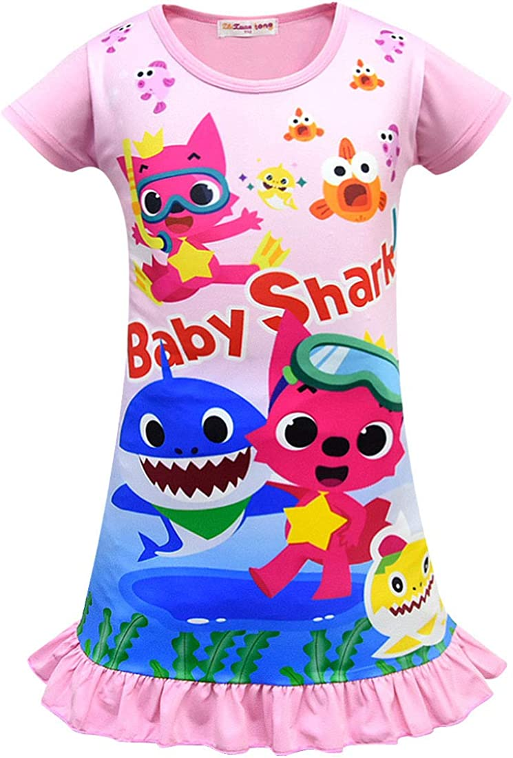 Baby Shark Girls Night Dress Nightie Red Pink Purple Color Pajamas 3-8Years