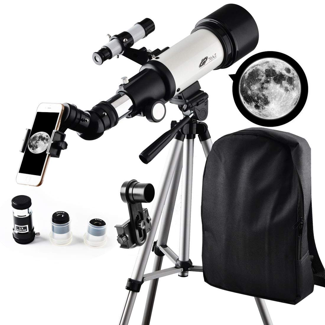 Telescope, Travel Scope, 70mm Aperture 400mm AZ Mount Astronomical Refractor Telescope for Kids Beginners - Portable Travel Telescope with Carry Bag, Smartphone Adapter by SOLOMARK