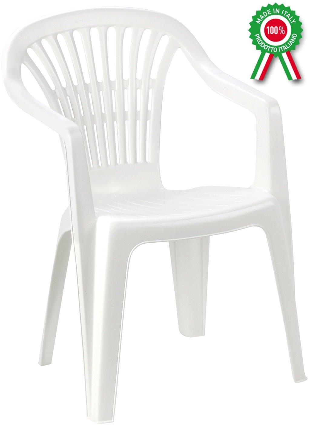 Poltrona sedia Scilla in dura resina di plastica bianca impilabile con braccioli Savino Fiorenzo