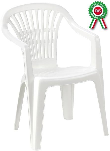 Poltrona Sedia Scilla In Dura Resina Di Plastica Bianca Impilabile