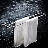 JIAHENGY Modern minimalist punch 304 stainless steel wire drawing twin pole 40 50 60 cm lengthened thickened hardware pendant bathroom toilet kitchen wall hanging type, 50cm Towel Bar Towel Rack
