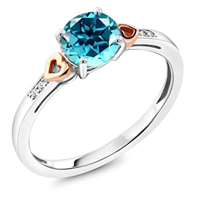 a02e2f7a8 925 Sterling Silver and 10K Rose Gold Diamond Accent Ring Paraiba Color  Topaz Cut by Swarovski
